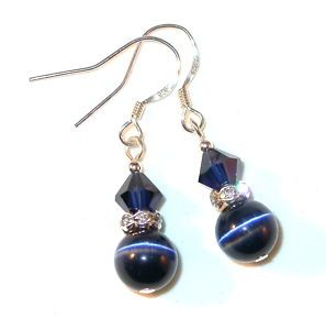 Swarovski Crystal Catseye Silver Earrings Navy Blue