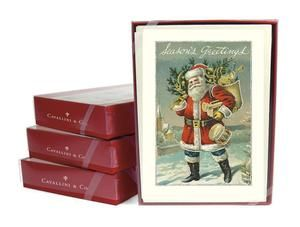 Cavallini Co Glitter Christmas Cards Boxed Set Santa