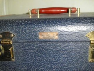 Cavanaugh Luggage Craftmen Vintage Navy Blue Train Case Suitcase with