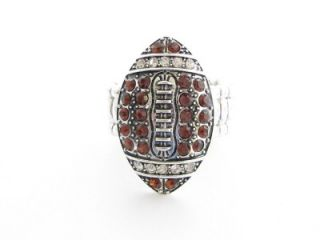 Football Brown Crystal Fashion Stretch Ring Jewelry