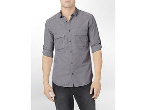 Calvin Klein Houndstooth Roll Up Casual Shirt Mens