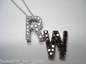 14k WG Initials Letter Black White Diamond Necklace