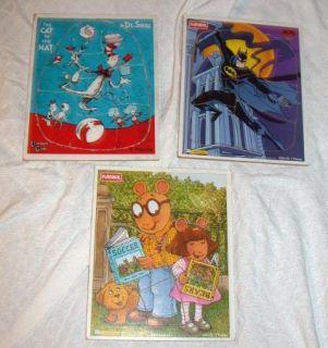 WOOD Puzzle Lot Dr. Seuss Cat in Hat Batman Arthur DW Playskool 1997