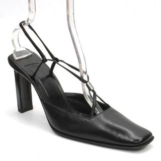 Auth Casadei Made in Italy Black Leather Dress Slingback Heels Pumps