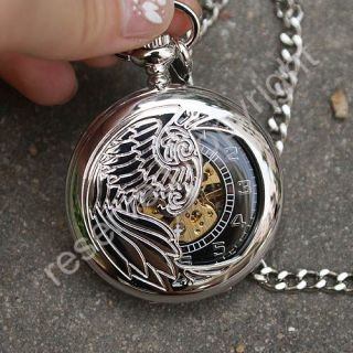 Phoenix Pattern Mechanical Mens Pocket Watch Sliver Fob