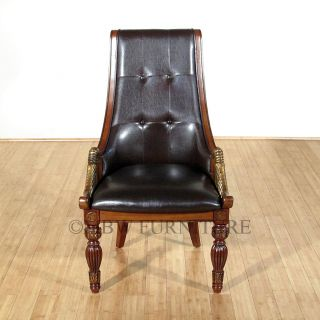 Cherry Brown Faux Leather Upholstered Carved Side Chairs (2) ac1961