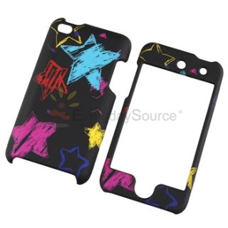 Black Chalkboard Star Rubber Hard Case Privacy Guard for iPod Touch 4