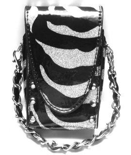Silver Black Zebra Universal Cell Phone Case Wristlet