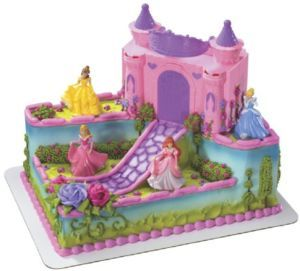Disney PRINCESS CASTLE Case With 4 Dolls Birthday CAKE Decorating
