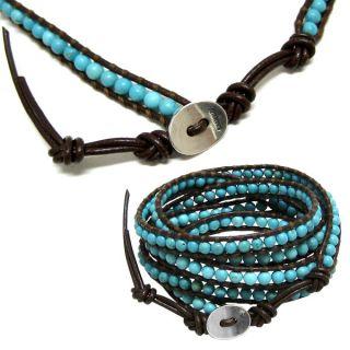 Chan Luu Turquoise Beads & Brown Leather Wrap Bracelet