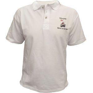 RMS Titanic Born in Belfast Centenary Polo Shirt Men New White Star