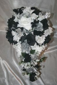 Black White Silver Wedding Silk Flowers Centerpieces 15 PC