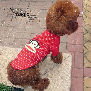 New Pet Dog Cat Red White Dot Dog Shirt Clothes Apparel Pet Supplies S