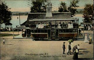Chautauqua NY Double Deck Car Celoron Park Scene c1910 Postcard