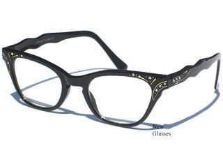 Cat Eye Clear Lens Glasses Black Frame with Rhinestones Vintage Retro