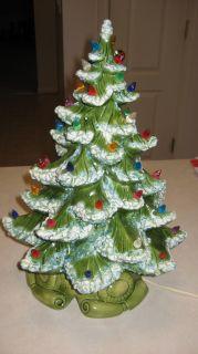 RARE* Vintage Ceramic Christmas TREE lighted Atlantic mold 2 piece