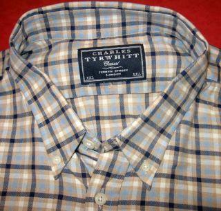 Charles Tyrwhitt Cashmere Cotton Tattersall Shirt 2XLT Jermyn Street