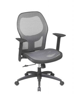 CHARCOAL MESH SEAT & BACK OFFICE DESK TASK CHAIRS WITH ADJUST ARMS