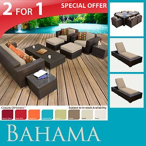 Wicker Patio Furniture Sofa 7pc Dining Set 2 Lounge Chaises