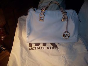 Michael Kors Large Grayson Leather Satchel Handbag Purse $348 Vanilla