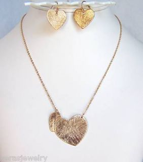 Brushed Gold Connected Hearts Pendant Necklace Earrings