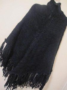 Cejon Sexy Comfy Ladys Black Knit Turtle Neck Sweater Poncho w Fringe
