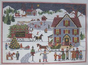 Vtg Charles Wysocki Yuletide Village Christmas Cross Stitch Kit