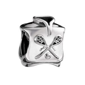 Authentic Chamilia LACROSSE JERSEY LAX Charm Bead Sterling Silver GD