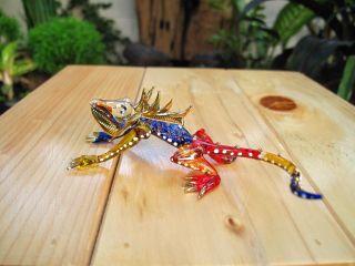 Handmade Chameleon Art Glass Blown Reptile Animal Figurine Gift From