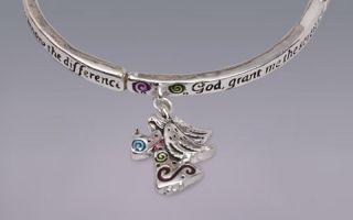 Beautiful Heart Charm Stretch Bracelet Faith Hope Love Serenity Wish