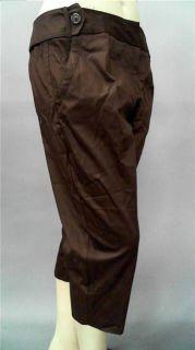 Cato Classic Womens Plus 20W Lightweight Capri Pants Brown Solid