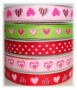 VALENTINE HEART LOVE PINK RED LIME DOT GROSGRAIN RIBBON MIX 4