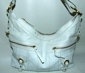 Charles David White Leather Hobo Shoulder Bag Purse Handbag