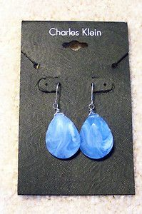 Charles Klein Baby Blue Earrings with Silver Wires Teardrop Shaped