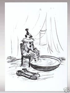 Charles Addams Clown Feet Art Artwork Cartoon Postcard