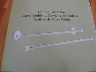 Bathroom Double Towel Bar in Satin Nickel and White Ceramic Finish