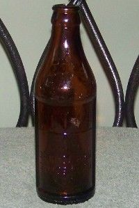Old Embossed Certo Fruit Pectin Amber Glass Bottle with Upside Down