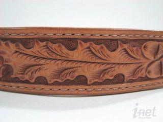 Bob Dellis Chacon Acorn Hand Tooled Leather Belt Tan