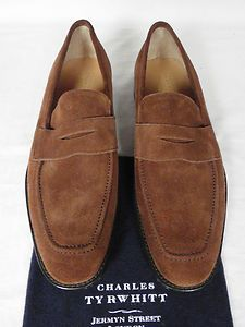 Charles Tyrwhitt Mid Brown Suede Penny Loafer Shoes UK 12 F