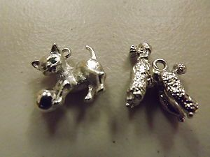 Large Poodle Cat Kitten Non Sterling Silver Plate Charm Set