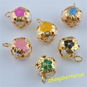 Painted Flower Gold Plated jingle bells beads Xmas Charms 17 12mm