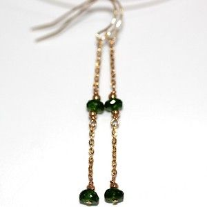 Pure Solid Yellow Gold Natural Russian Chrome Diopside Chain Earrings