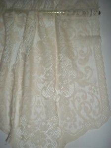 Chatham Ivory Creme Off White Lace Curtain Tier Floral Design 66 x 25