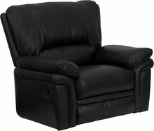 Black Leather Recliner Home Office Chair Plush Overstuffed Oversized