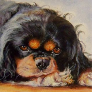 Cavalier King Charles Spaniel Dog Original Painting by Artist Jeanne