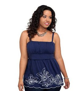 Torrid Size 5 Navy Blue Embroidered Challis Emma Cami Tank Top Shirt