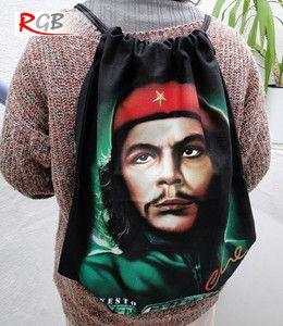 Black Che Guevara Canvas Tote Backpack Bag for Men and Women