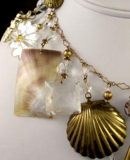 Huge 1955 Iris Lane Brass Cut Crystal Abalone Necklace