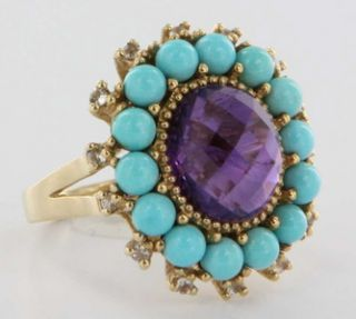 Vintage Yellow Gold Amethyst Turquoise Big Cocktail Ring Estate Fine