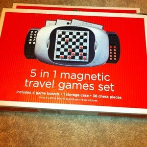 Magnetic Travel Game Board Games Checkers Chess Solitare Tic Tac Toe